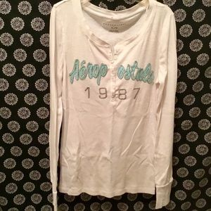 White Long Sleeved Ribbed Aeropostale Shirt